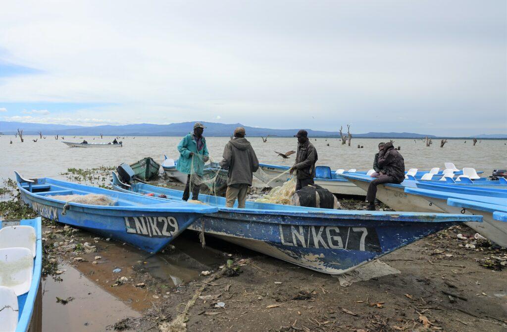 Vissers bij Lake Naivasha, Kenia